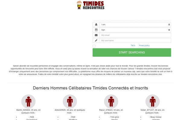 Rencontres timides sur Timides-Rencontres.club